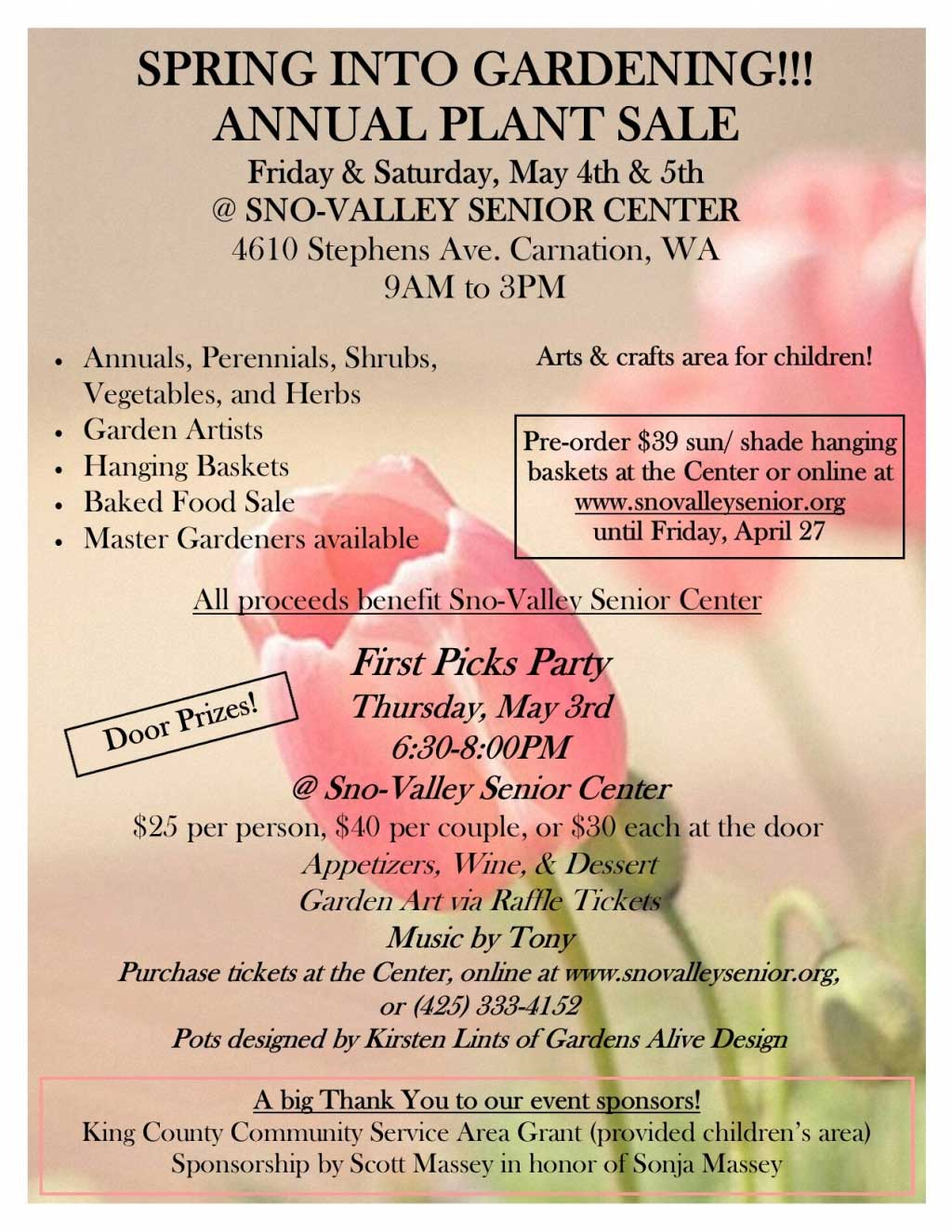 First Picks Party and Annual Plant Sale