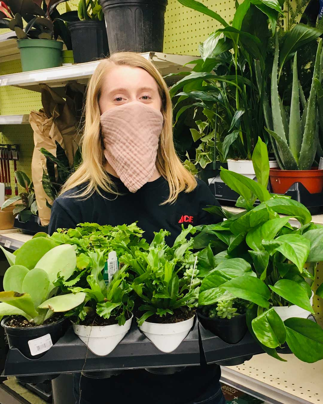 natalie with new house plants